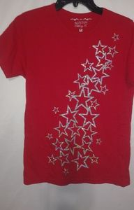 Red Silver Stars All Over Top Sz M